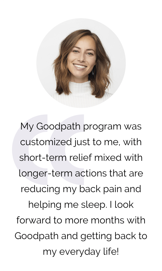 A testimonial showcasing the great personalized Goodpath programs.