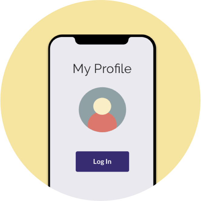 Icon of creating a profile on a mobile device.